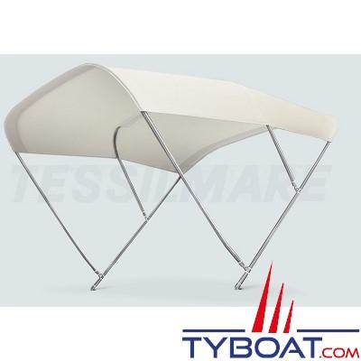 Tessilmare - Tissu pour capote Bimini - Blanc - Imperméable - 100 % polyester - Largeur 245 cm
