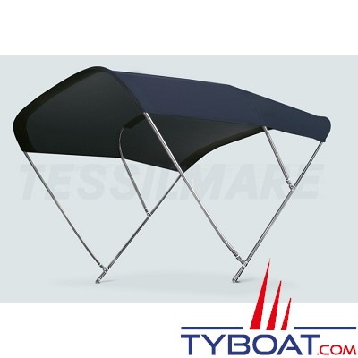 Tessilmare - Tissu pour capote Bimini - Bleu navy - Imperméable - 100 % polyester - Largeur 215 cm