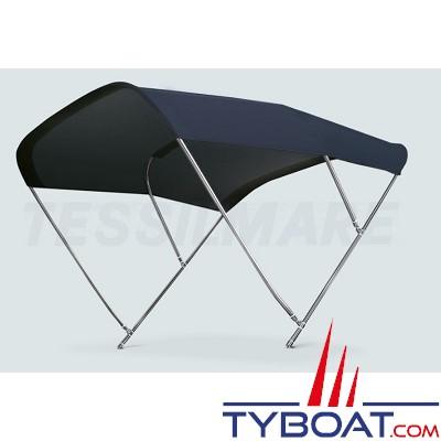 Tessilmare - Tissu pour capote Bimini - Bleu navy - Imperméable - 100 % polyester - Largeur 245 cm
