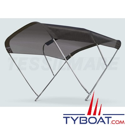 Tessilmare - Tissu pour capote Bimini - Noir - Imperméable - 100 % polyester - Largeur 185 cm