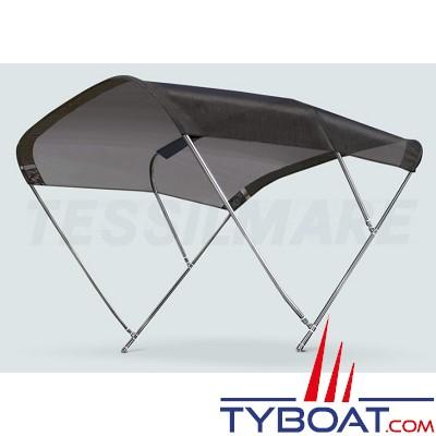 Tessilmare - Tissu pour capote Bimini - Noir - Imperméable - 100 % polyester - Largeur 200 cm