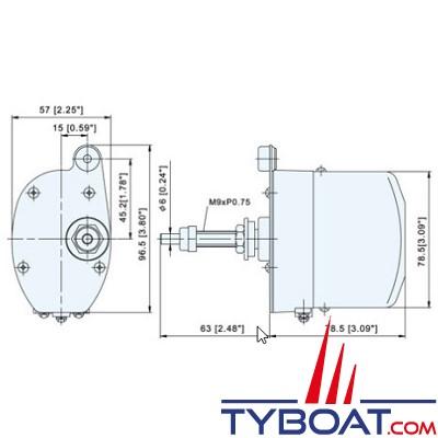 TMC - Moteur essuie-glace1 vitesse - 12 Volts  - Arbre Ø 6 mm longueur 63 mm - Angle 90°/110°