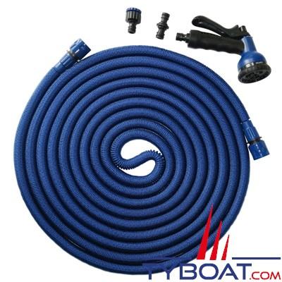 Topomarine - Blue Python - Tuyau extensible  7.5/22.5 mètres - Raccords + pulvérisateur