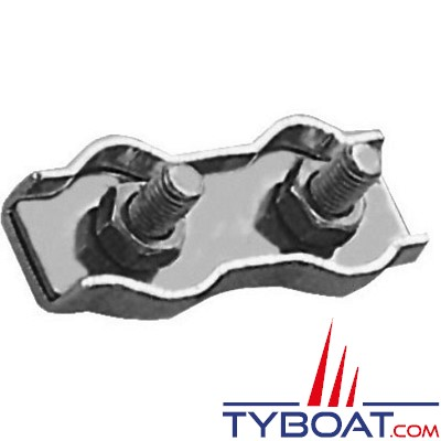 TYBOAT - Serre-câbles plat double - Inox - pour diamètre 5 mm