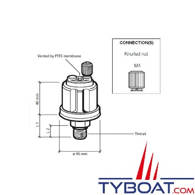 VDO 360 081 029 012C - Capteur de pression huile/air - 10 bars - 1/8