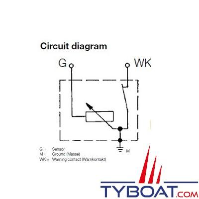 VDO 360.081.030.017C - Capteur de pression/air - 0-10 Bar - M10X100 avec alarme 0.9 bars