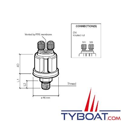 VDO 360 081 032 006C - Capteur de pression huile/air - 10 bars - M14x1,5