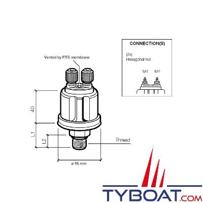 VDO 360 081 038 003C - Capteur de pression huile/air - 25 bars - 1/8 - 27 NPTF