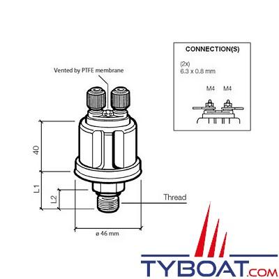 VDO 362 081 001 002C - Capteur de pression/air isolé double poste - 0-10 Bar - 1/8-27 - NPTF