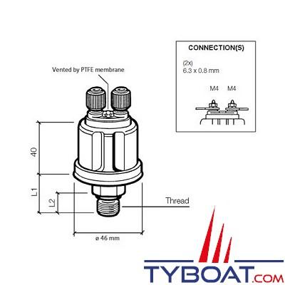 VDO 362 081 002 001K - Capteur de pression isolé double poste - 0-25 Bar - 1/8-27 - NPTF