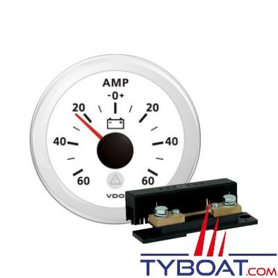 VDO - Ampèremètre 60A blanc + Shunt ampèremètre 60A