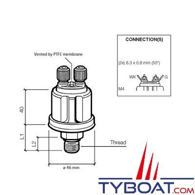 VDO - Capteur de pression - 0-10 Bar - M10X100