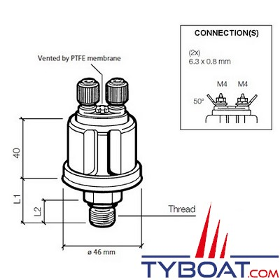 VDO - Capteur de pression - 0-2 Bar - 12X150