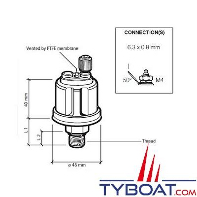 VDO - Capteur de pression - 0-25 Bar - 1/8-27 - NPTF