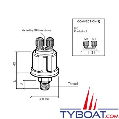 VDO - Capteur de pression - 0-25 Bar - M18150