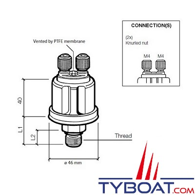 VDO - Capteur de pression - 0-5 Bar - 1/8-27 - NPTF