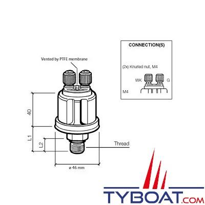 VDO - Capteur de pression - 0-5 bar / 0-80 PSI - 1/8-27 NPTF