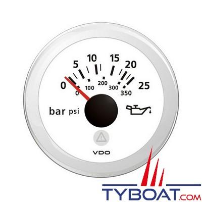 VDO - Manomètre - ViewLine - 25 Bar / 360 psi - Blanc - Ø52 millimètres