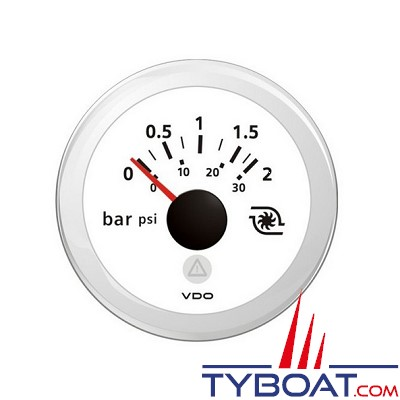 VDO - Manomètre - ViewLine - 2 Bar / 28psi - Blanc - Ø52 millimètres