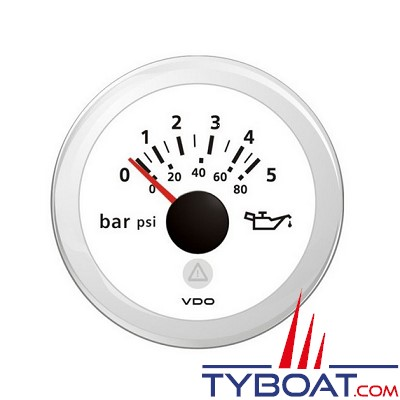 VDO - Manomètre - ViewLine - 5 Bar / 72 psi - Blanc - Ø52 millimètres