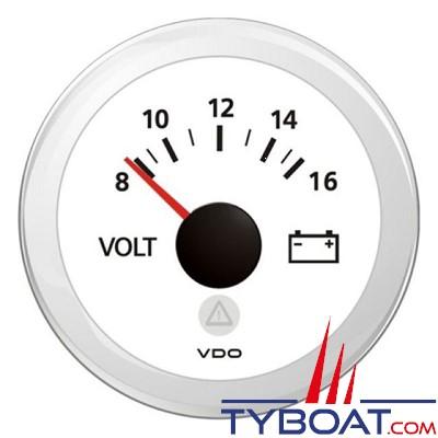 VDO - Viewline - Voltmètre 12 Volts ( 8 - 16 volts) - Blanc - Ø 52 mm