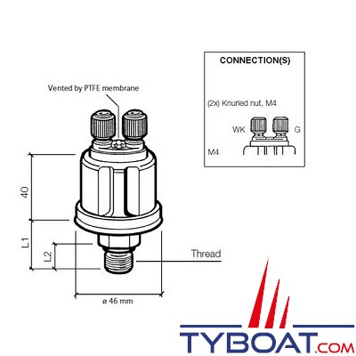VDO - Capteur de pression - 0-10 Bar - M12X150