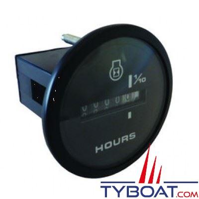 VEETHREE Horamètre Amega 58154E - noir Ø 52mm 1000 H