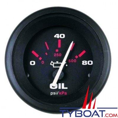 VEETHREE Indicateur de pression d'huile AMEGA 57903E - noir Ø52mm 0-80 PSI