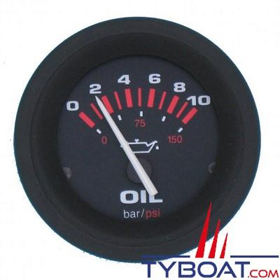 Veethree - Indicateur de pression d'huile AMEGA 62156E - Ø52mm 0-10bars - noir
