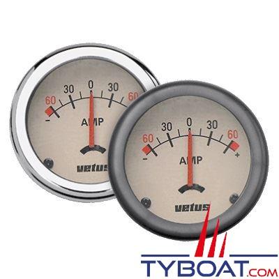 VETUS - Ampèremètre beige 12/24 Volts (+/- 60A) trou d'encastrement 52mm