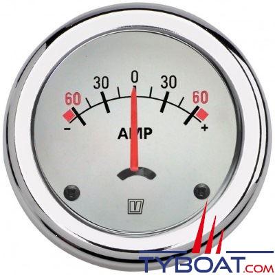 VETUS - Ampèremètre blanc 12/24 Volts (+/- 60A) trou d'encastrement 52mm