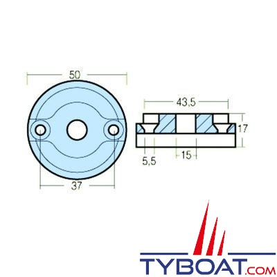 Vetus - Anode pour propulseur d'étrave propulseurs d'étrave 35/ 45 / 55 Kgf, BOWA036, 042, 057, BOWB042, 057