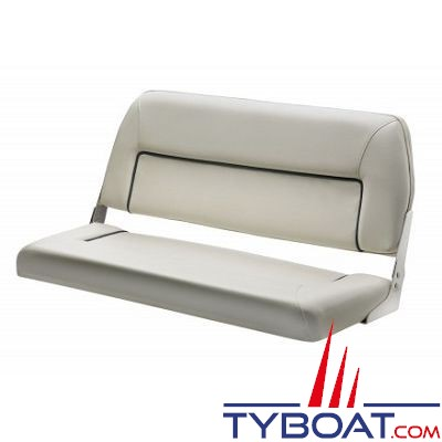 VETUS - Banquette 2 places luxe rabattable blanche coutures bleu marine