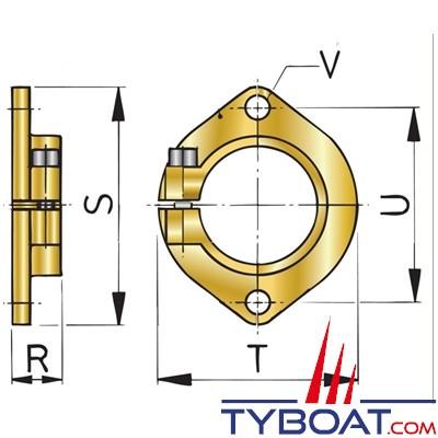 VETUS - Bride tube étambot Ø 35 mm type BL