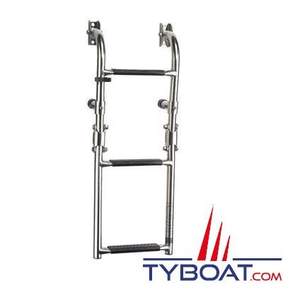 VETUS - Échelle de bain pliante inox AISI 316 3 montage paroi marches longueur dépliée 600 mm