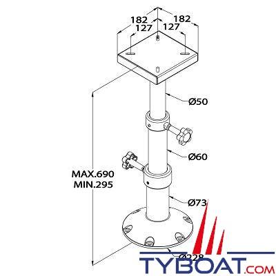 Vetus pied de table t lescopique r glable 290 690 mm vetus pcms2969 tyboat com - Pied de table telescopique ...