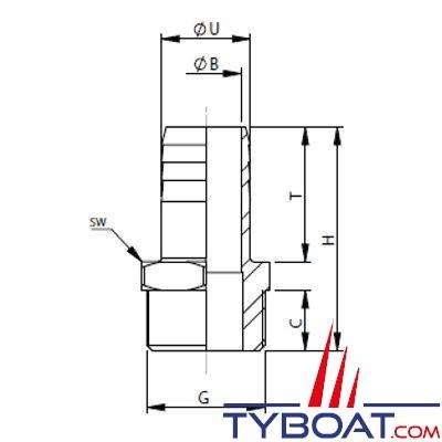 VETUS - Raccord annelé inox mâle G1/2'' pour tuyau 20 mm