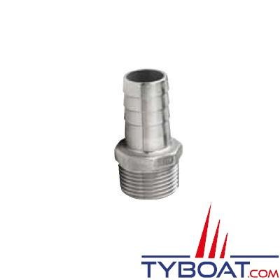 VETUS - Raccord annelé inox  mâle G3/8'' pour tuyau de 15 mm