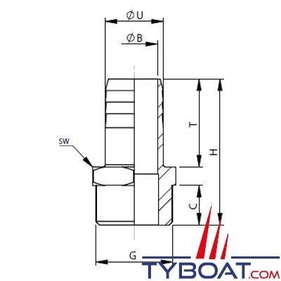 VETUS - Raccord annelé laiton G3/8 - 15 mm