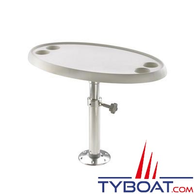 VETUS - Table ovale 76 x 45 cm pied réglable et amovible hauteur 68 cm