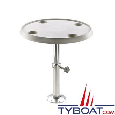 VETUS - Table ronde 60 cm pied réglable 50 à 70 cm