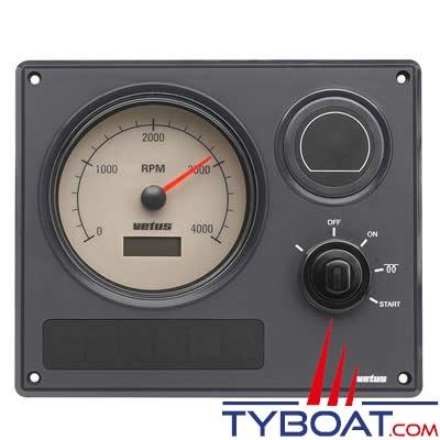 Vetus - Tableau de bord étanche MP21 cadran beige (0-4000rpm) 12V