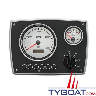 VETUS - Tableau de bord moteur aluminium type MPA22 12 Volts 2 instruments blanc  (0-4000 rpm)