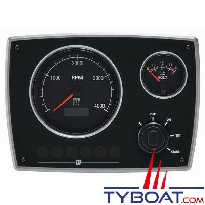 VETUS - Tableau de bord moteur aluminium type MPA22 12 Volts 2 instruments noir (0-4000 rpm)