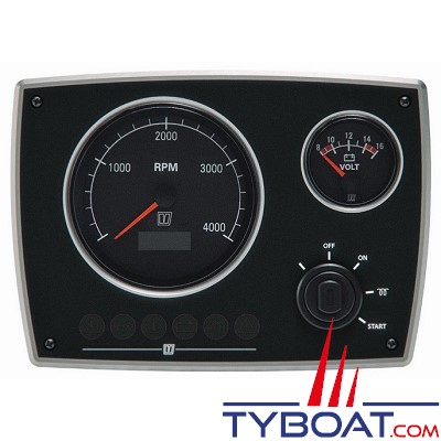 VETUS - Tableau de bord moteur aluminium type MPA22 12 Volts 2 instruments noir (0-5000 rpm)
