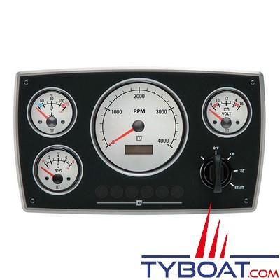 VETUS - Tableau de bord moteur aluminium type MPA34 12 Volts 4 instruments blanc  (0-4000 rpm)