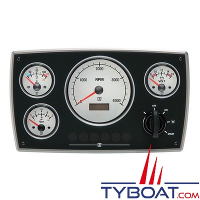 VETUS - Tableau de bord moteur aluminium type MPA34 12 Volts 4 instruments blanc  (0-5000 rpm)