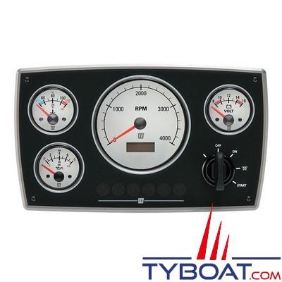 VETUS - Tableau de bord moteur aluminium type MPA34 24 Volts 4 instruments blanc  (0-4000 rpm)