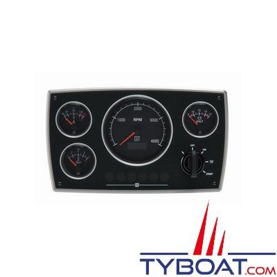 VETUS - Tableau de bord moteur aluminium type MPA34 24 Volts 4 instruments noir (0-4000 rpm)