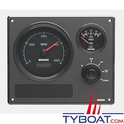 VETUS - Tableau de bord moteur synthétique type MP22  24 Volts 2 instruments noir (0-4000 rpm)